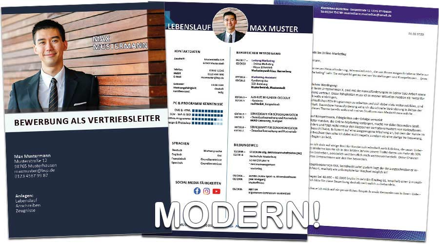 Angebote Erstellung professionelle Bewerbungsunterlagen und Bewerbercoaching - Beispiel moderne Bewerbung