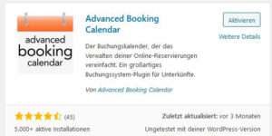 Advanced Booking Calendar WordPress Plugin für Online-Buchungen