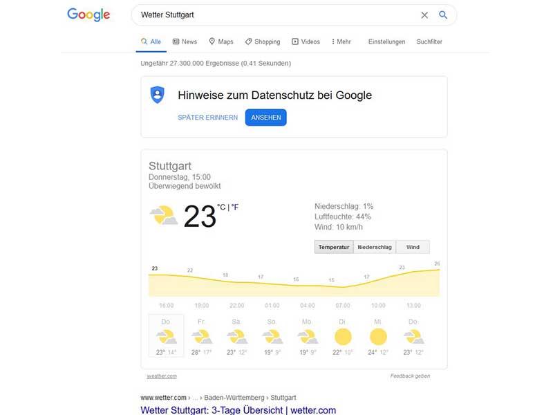 Bedeutung Beliebte No Click und Zero Click Searches hier Wettersuche