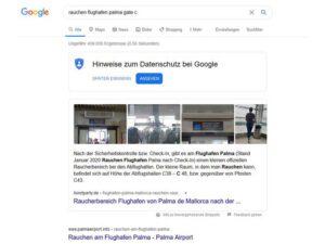 Beispiel Zero Click Searches bei Google zu Rauchen Flughafen Palma