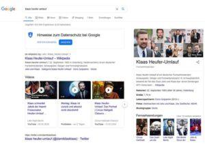 Beispiel Zero Click Searches bei Suche nach Klaas Heuer-Umlauf