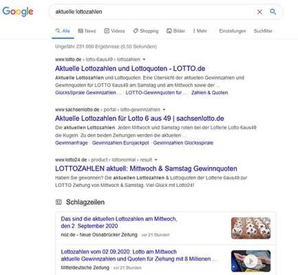 Google Platz Beispiel-Lottozahlen Fraggles ohne informative Antwort