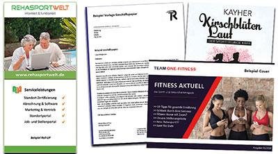 Referenzen Grafikdesign Arbeiten Prinmedien Beispiele für Rehasport Marketing und Sportvereine