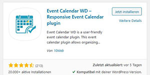 WordPress Pluign Event Calendar WP für z.B. Rehasport Marketing